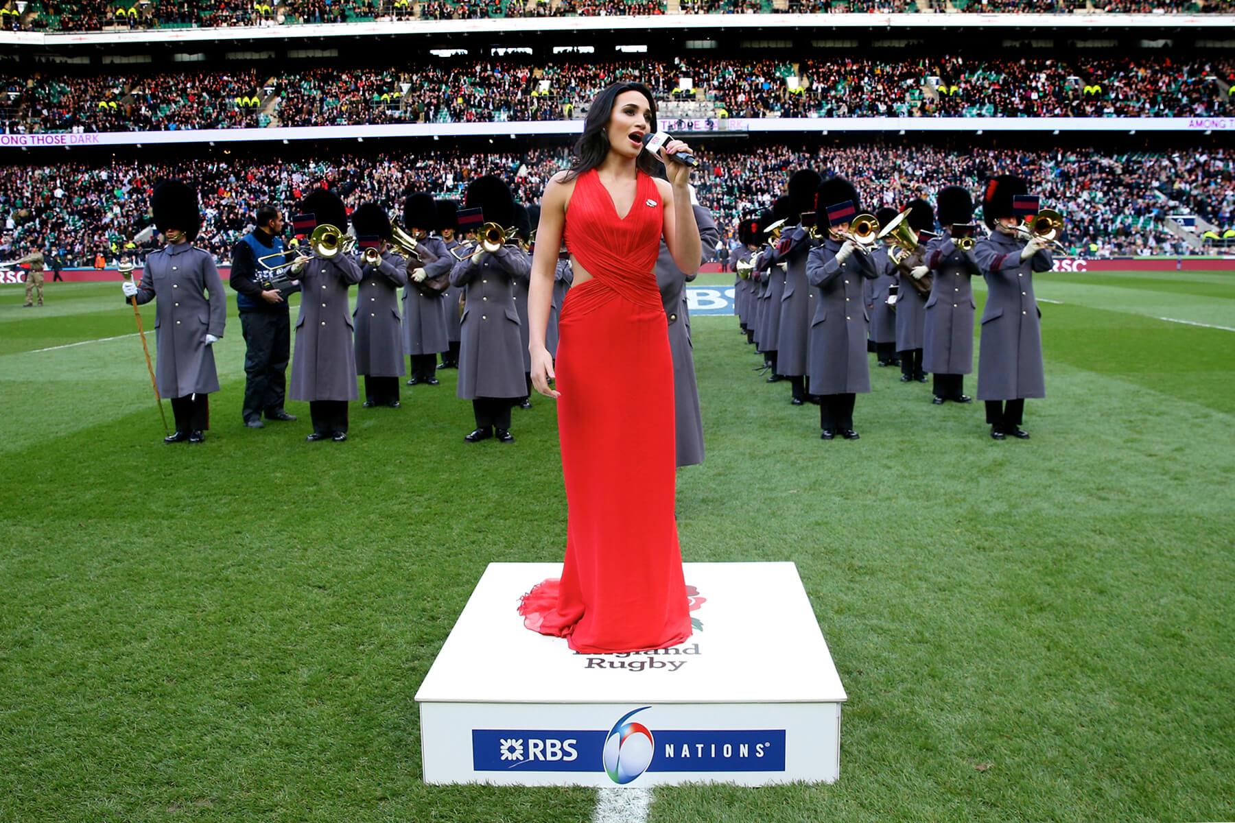 Laura Wright National Anthem Podium at Twickenham