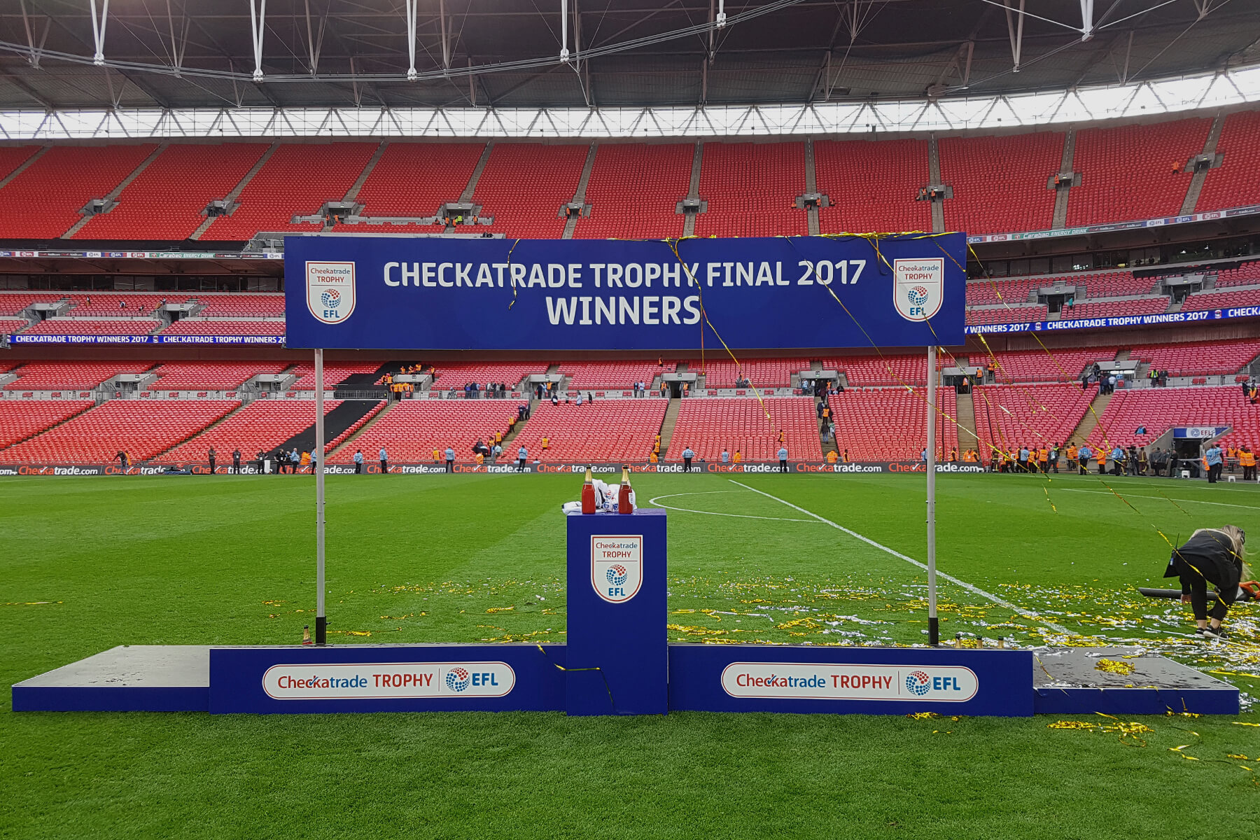Centre Plinth Winners Board Podium at Checkatrade Trophy Final 2017