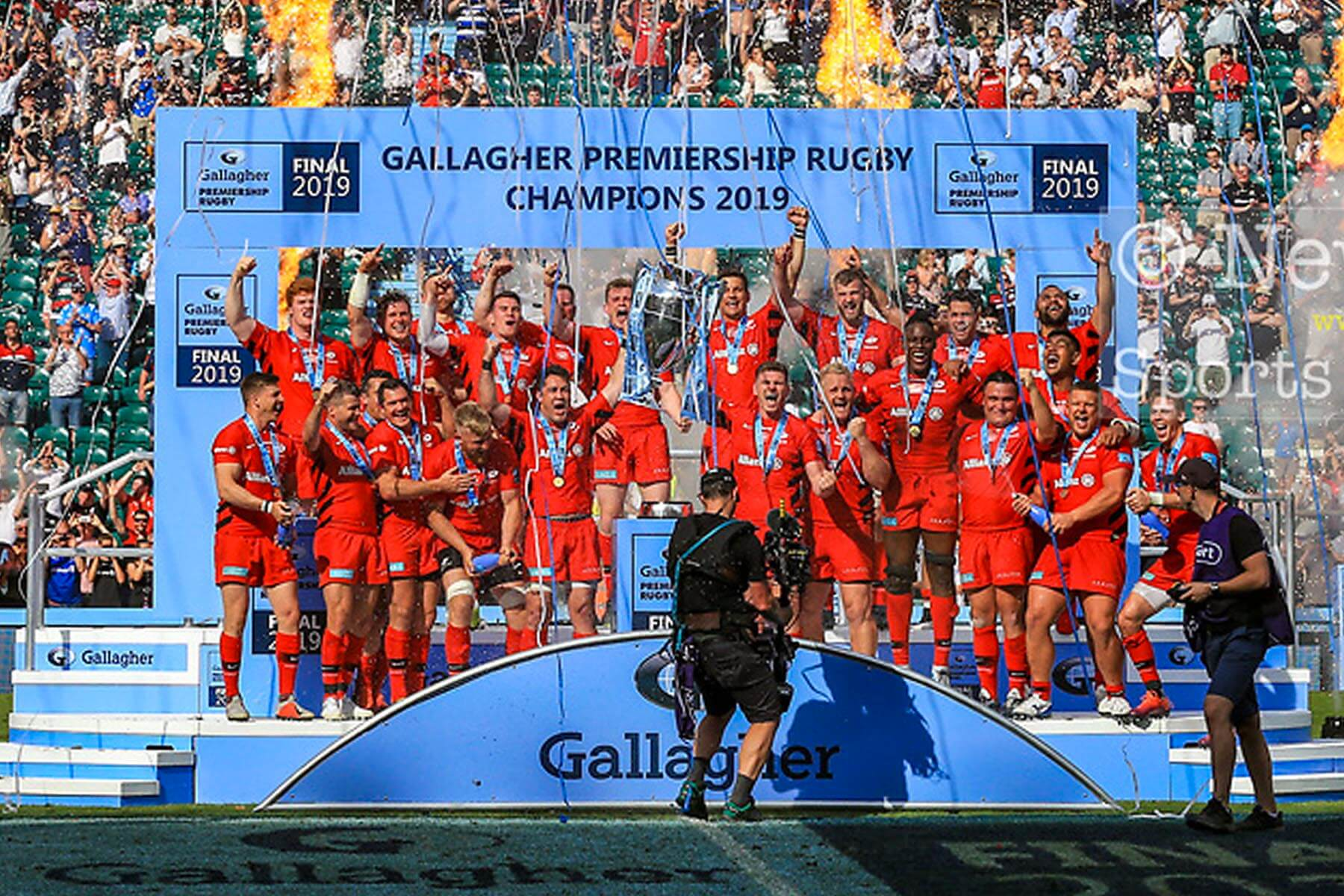 2 Tier Large Presentation Stage Hire for Gallagher Premiership Rugby 2019