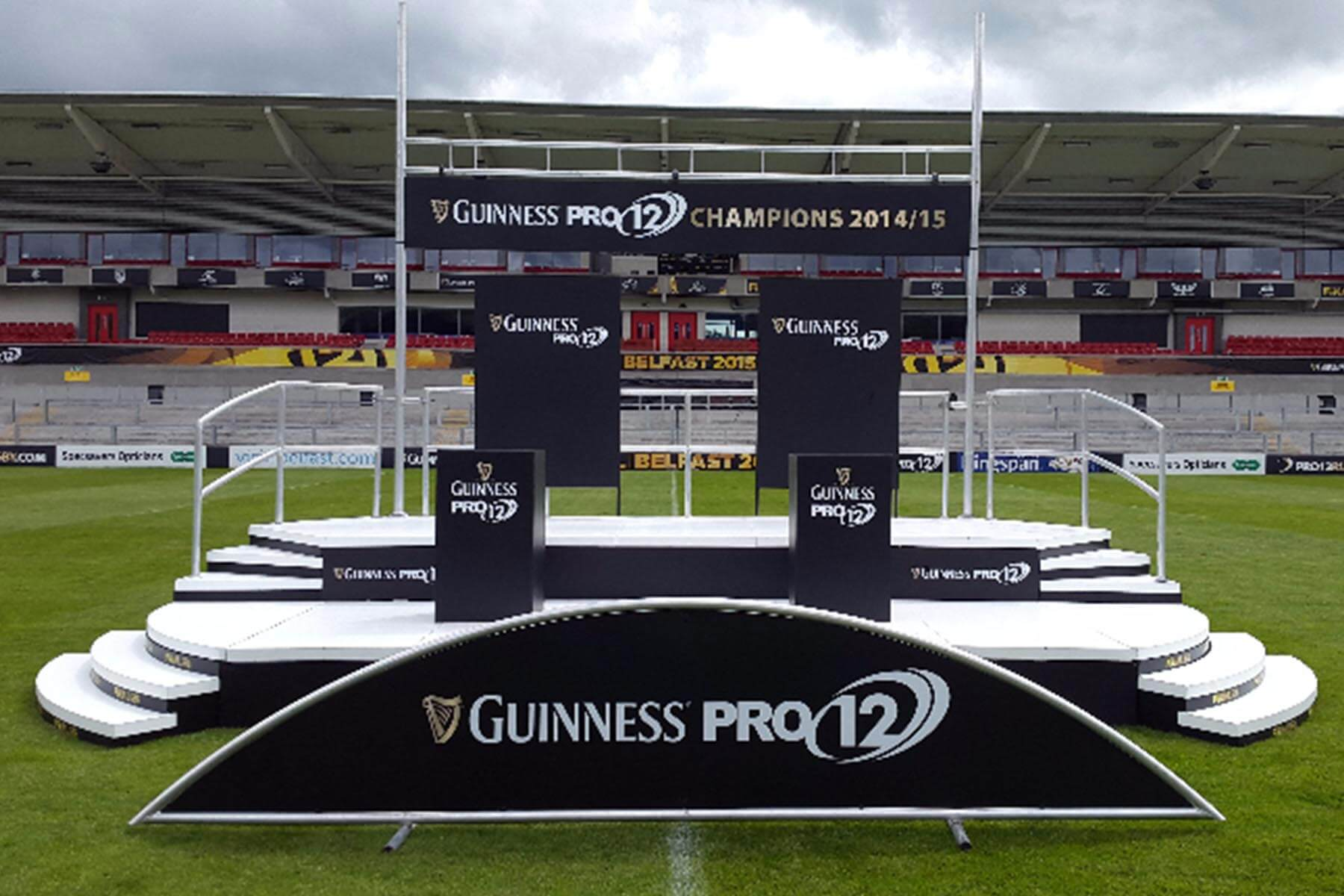 2 Tier Large Presentation Stage Hire for Guinness Pro12 Final