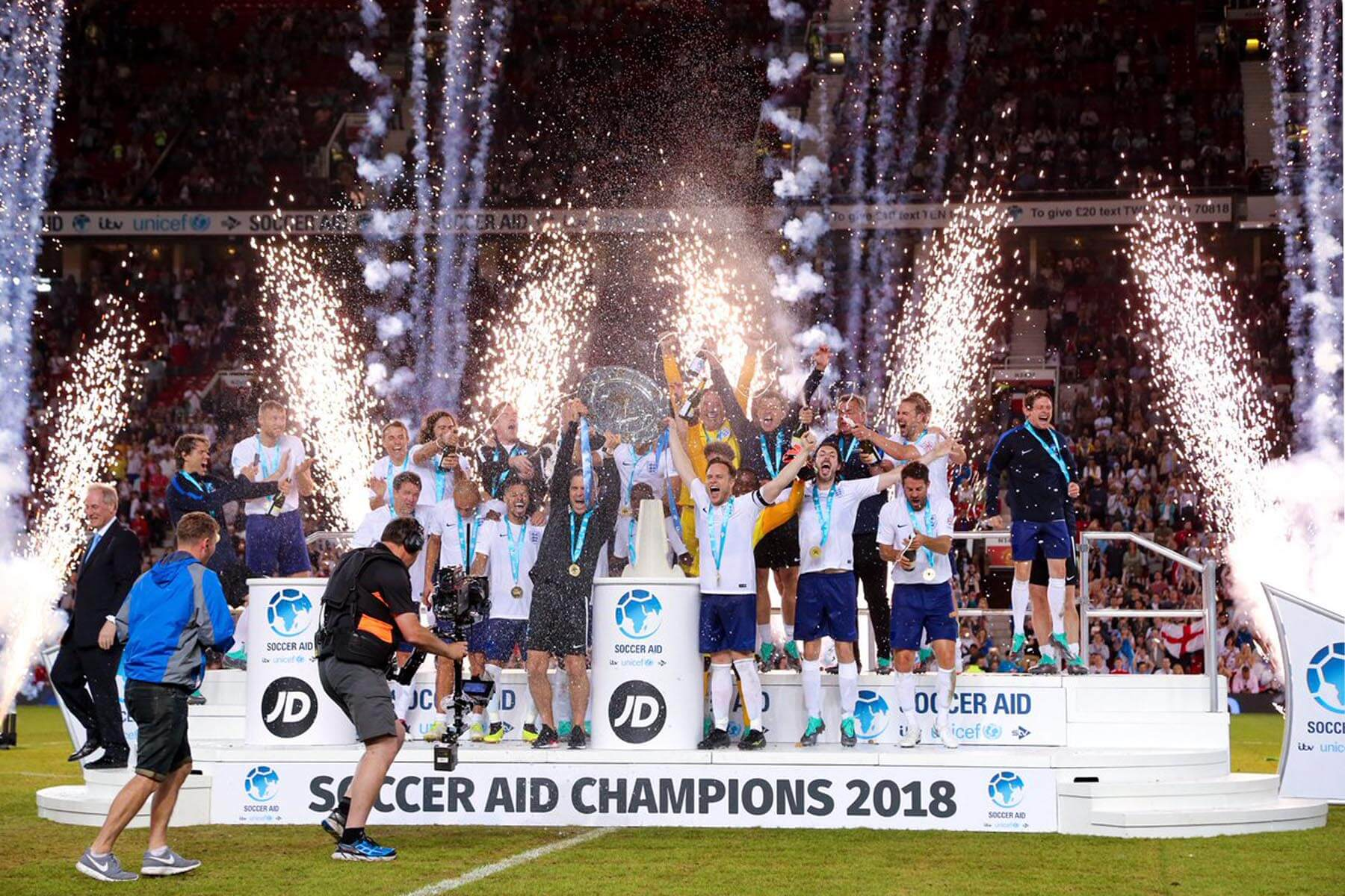 2 Tier Large Presentation Stage at Soccer Aid 2018