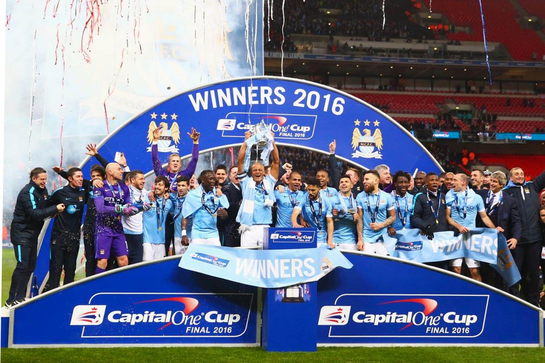 Enhanced Sports Presentation Winners Podium with Arched Back at Capital One Cup 2016