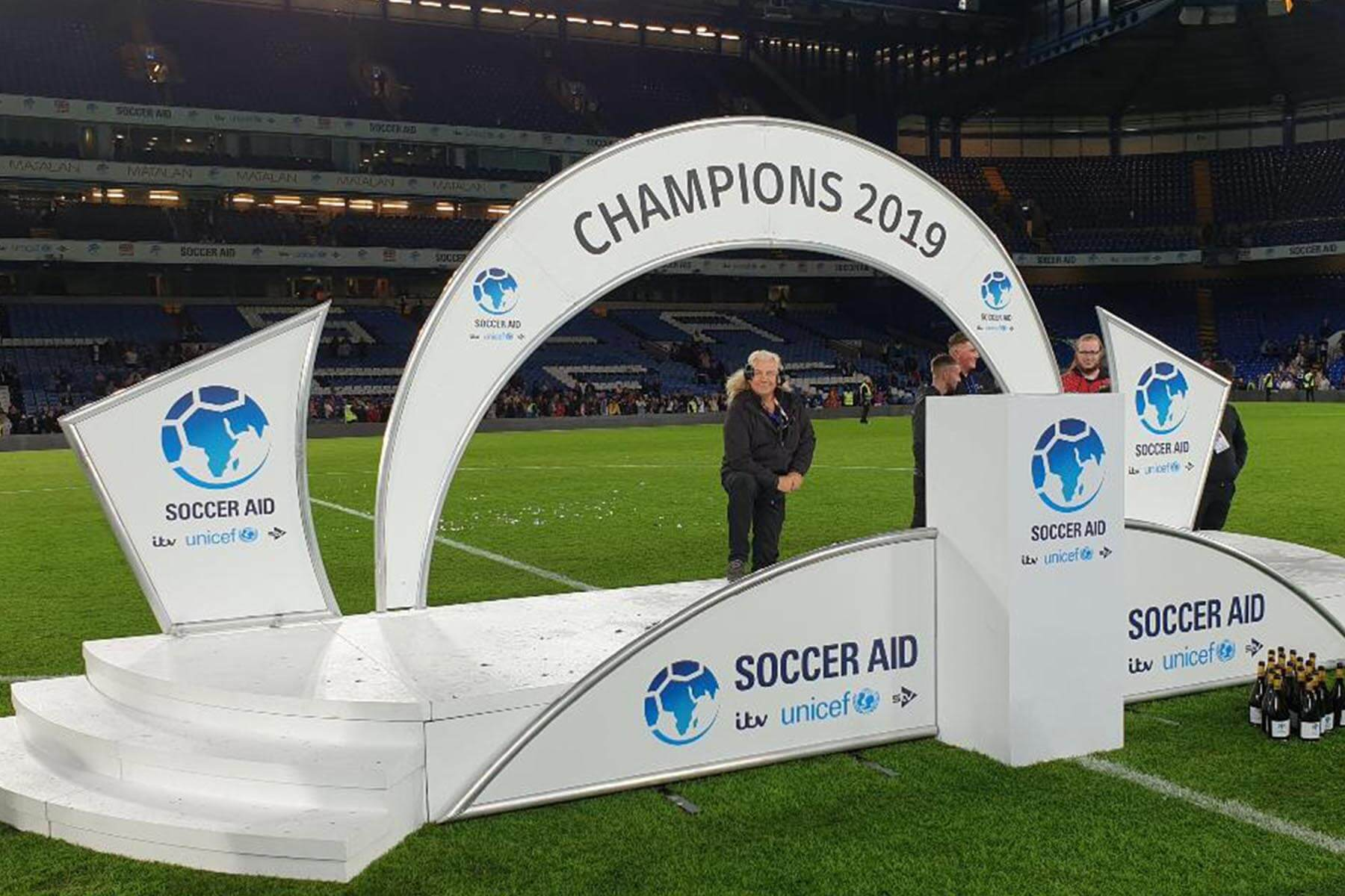Presentation Stage with Arched Back for Soccer Aid 2019