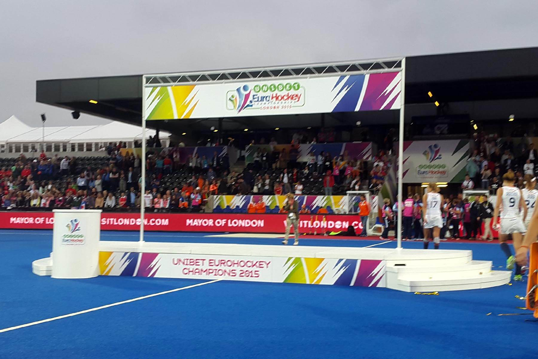 Large Sports Presentation Stage at Euro Hockey Championships London 2015