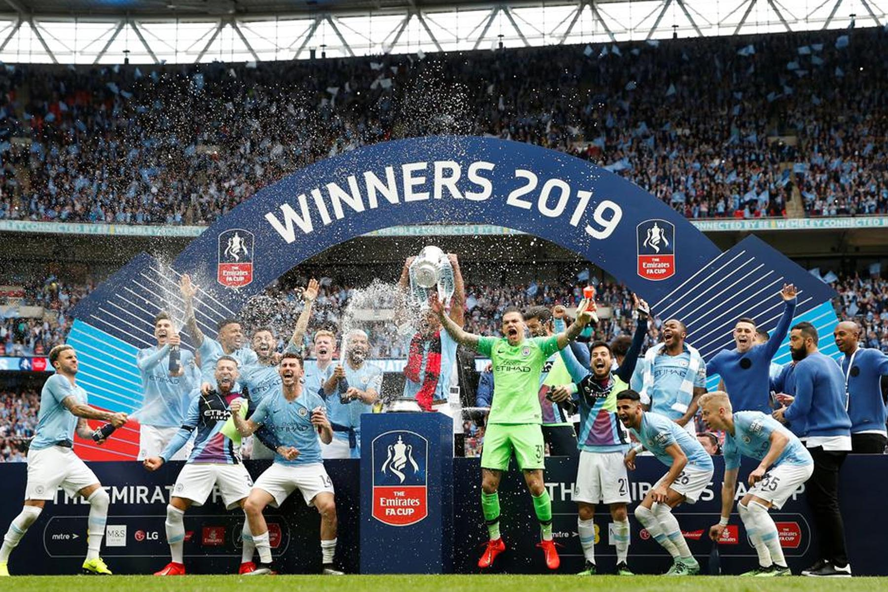 Winners Podium for FA Cup Final 2019